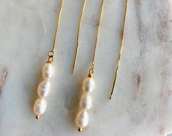 Pearl Chain Earrings - Baroque Pearl Earrings - Pearl Earrings - Gold Thread Earrings - Gold Pearl Earrings - Bridesmaid Earrings - P
