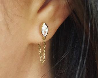 Gold Threader Earrings Chain Earrings Drop Dangle Earrings Minimalist Earrings Chain Stud Earrings Dainty Earrings Chain Loop Studs Jewelry