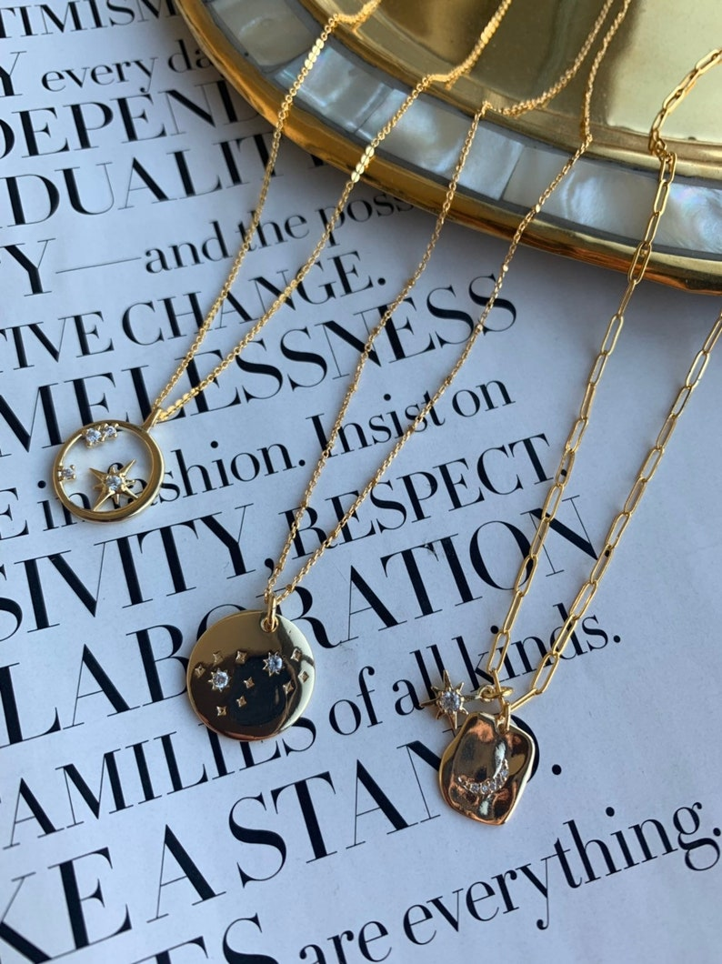 Layering Necklace Star Necklace North Star Necklace Compass Necklace Gold Coin Necklace Moon and Star Necklace Link Necklace