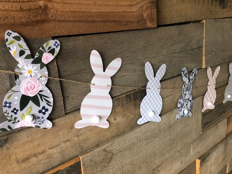 Bunny banner/Easter banner/Easter decor/Baby shower image 0