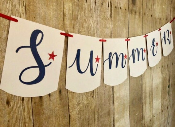 Fourth of July bannerSummer bannerRed white and blue bannerFourth of Julysummerpatriotic bannerfourth of July decorSummer decor
