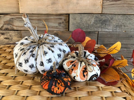 Fabric Pumpkins Rustic Halloween D\u00e9cor Farmhouse Fall D\u00e9cor Thanksgiving Table D\u00e9cor