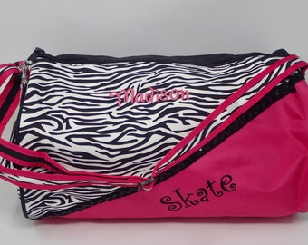 86e2dc005f90 Personalized Embroidered Zebra SKATE Duffle Bag Dance Hot Pink GIRLS TEEN  Lined