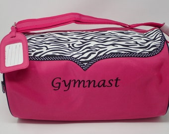054e659522ad Personalized Embroidered Zebra GYMNAST Duffle Bag Dance Hot Pink GIRLS TEEN  Lined