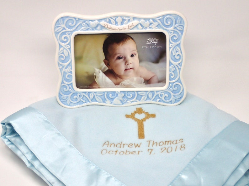 Christening GIFT BLUE Dedication FRAME Embroidered Personalized Fleece Blanket