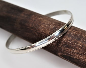 Chunky Textured 925 Silver Bangle Big Wide Modernist Rolled Silver Bangle Thick Heavy Oval Hammered Sterling Silver Bangle Bracelet Cuff
