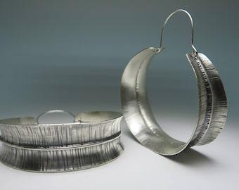 Large Silver Hoop Earrings, Dangle Earrings, Sterling Silver Earrings, Boho Earrings, Anticlastic, Fold Form, Handmade, Metalsmith, Hammered