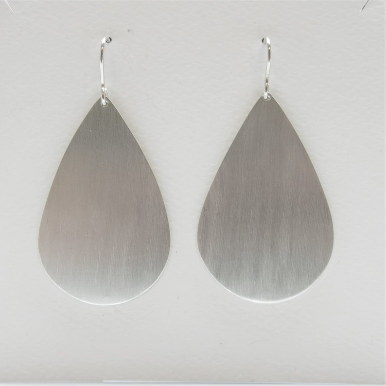 2bd5d9940832f Large bold silver teardrop dangle earrings, simple and modern minimalist  drop earrings with brushed satin finish, dramatic edgy design