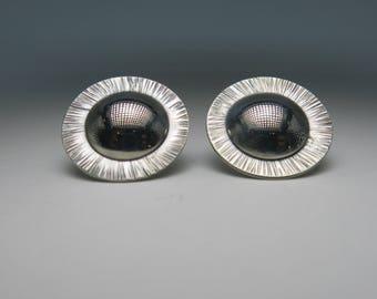 Silver Earrings, Stud Earrings, Domed Earrings, Sun Earrings, Handcrafted Earrings, Sterling Silver, Handmade, Metalsmith Jewelry, Jewelry