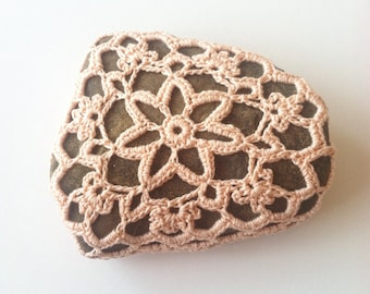 Crocheted River Stone no. 8 / Crochet Covered Stone, Crochet Rock, Mandala Stone, Altar Stone, Lace Stone, Boho Cottage Shabby Chic Decor