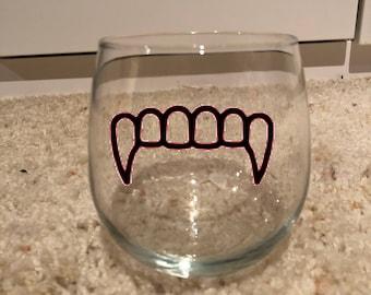 Vampire teeth The Vampire Diaries inspired wine glass or tumbler