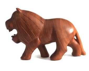 Vintage Hand Carved Ironwood Male Lion Figurine Sculpture African Teak