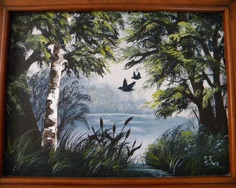 Vintage Lake with Landing Birds Oil in Canvas Painting by Cindy J Silva, Solid Wood Frame, 1987-1988
