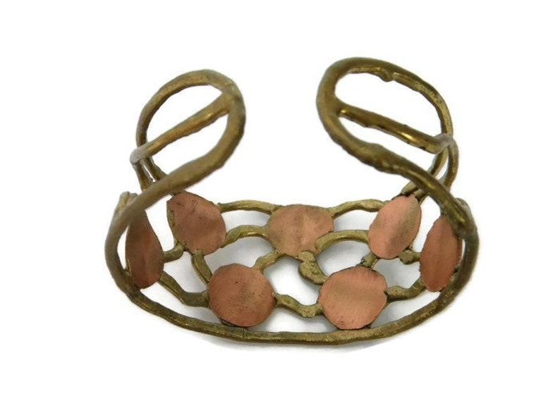 Sunburst Pendant 1970s Modernist Brutalist Gold Colored Copper Cross Necklace Wide and Narrow Cuff Bracelets