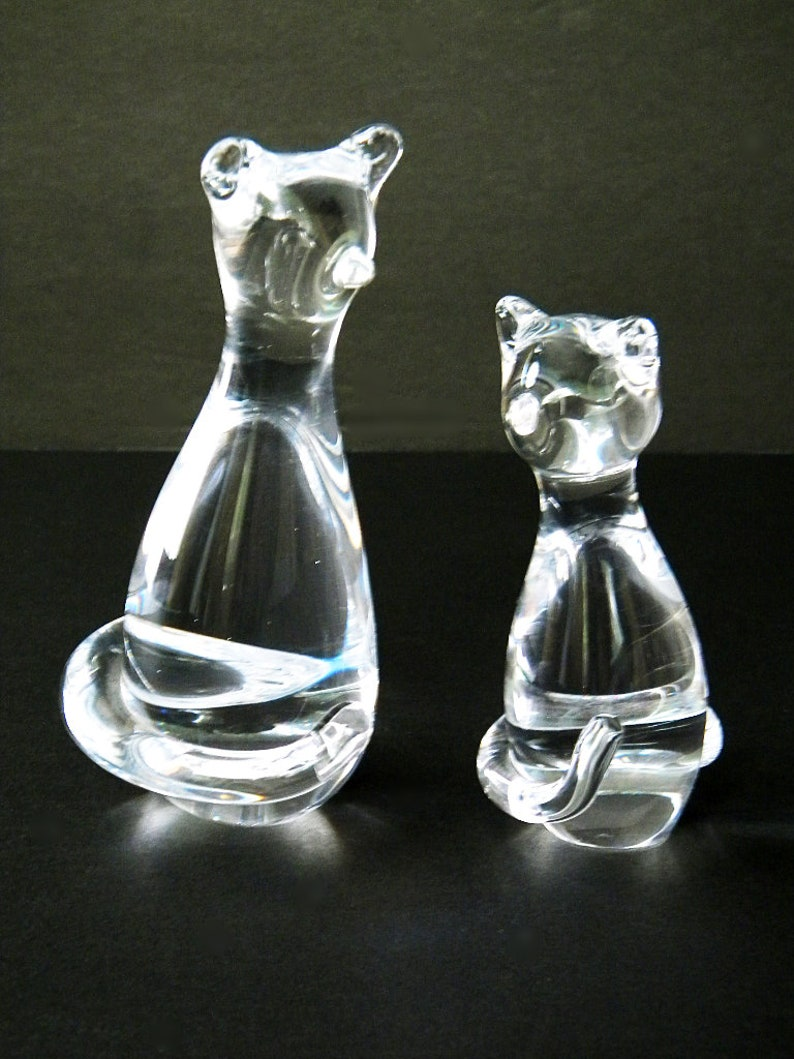 Vintage Clear Glass Cat Figurines Abstract Minimalism