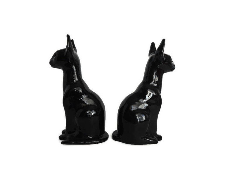 A Pair Of Vintage Studio Made Egyptian Black Cat Sculptures Studio Made Signed