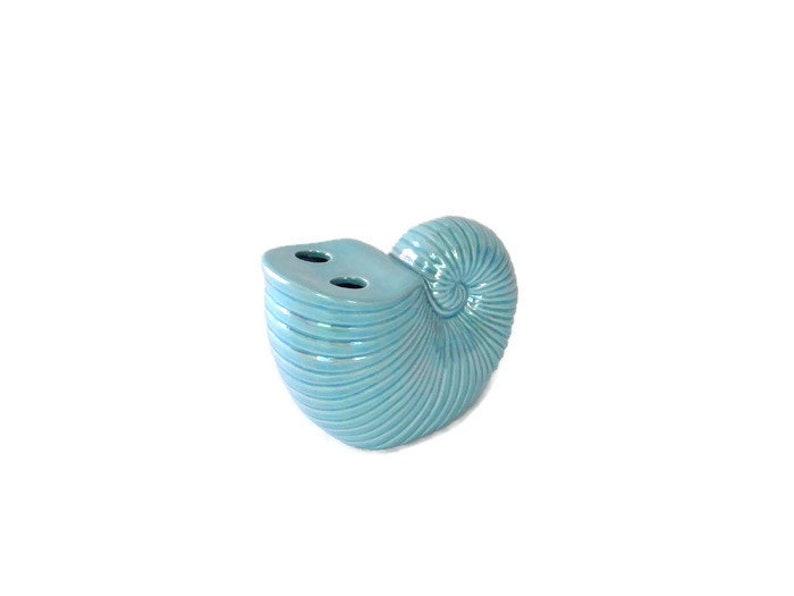 NOS High Lustre Glaze Ceramic Seashell Toothbrush Holder Made in Japan