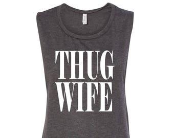 Thug Wife Gray Muscle Tank