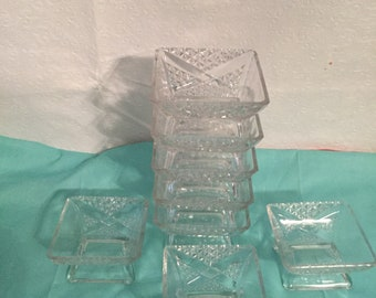 Vintage  small square glass bowls