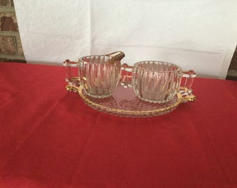 Vintage  Sugar and creamer with tray
