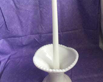 mc kee concord (1950) vintage  milk glass punch bowl stand or candle holder