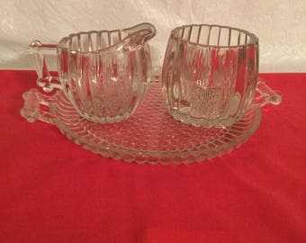 jeannette sugar and creamer with tray