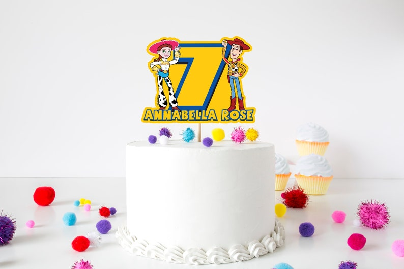Personalised Toy Story Woody /&Buzz Themed Glitter Card Cake Topper Name And Age