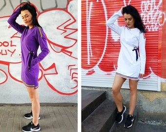 Long sleeve purple dress, Leisure dress, Dress with strings, Casual dress, Purple summer dress, Cozy summer dress, Short casual dress, Dress