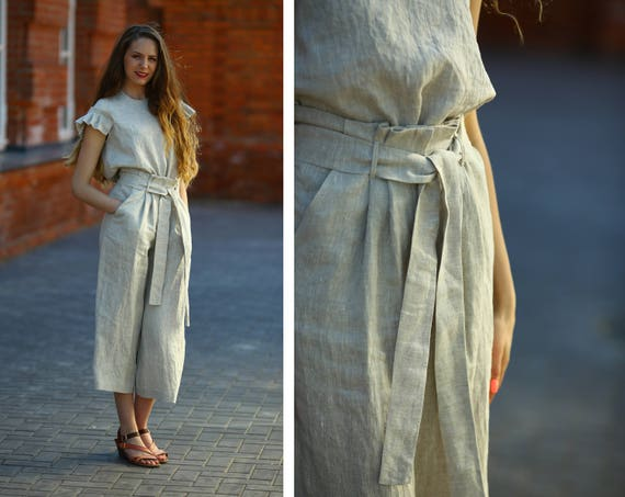 Natural Color Linen Suit Women Linen Set Linen Pants And Etsy