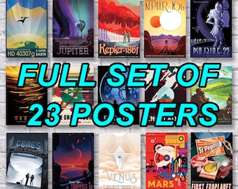 Full Set Space Tourism Posters x 15 & Mars Exploration Poster Set x 8, NASA Visions of the Future, Careers in Space, Jobs In Mars Art Prints