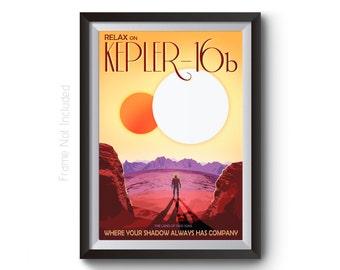 NASA Space Art - Kepler 16b Space Travel Posters - JBL Visions of the Future Artwork - Time Travel Art Prints