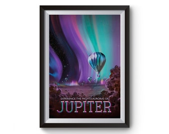 Jupiter Space Art -  Nasa Space Travel Posters - Visions of the Future Artwork - Time Travel Art Prints