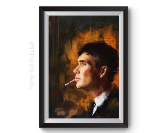Tommy Shelby Painting, Peaky Blinders Poster, Peaky Blinders Art, Thomas Shelby Wall Art Print, Cillian Murphy Character TV Show Artwork