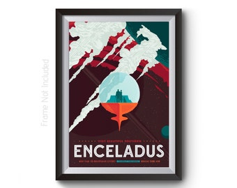 Space Travel Poster - NASA Space Tourism Posters - ENCELADUS Visions of the Future Holiday Posters by JBL - Sci-fi Wall Art