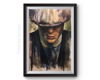 Vintage Abstract Style Peaky Blinders Wall Art Print, Peaky Blinders Tommy Shelby Painting, Peaky Blinders Poster BBC TV Show Wall Art Print