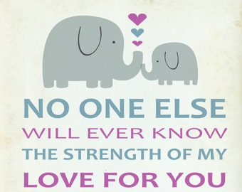No One Else will ever know the strength of my Love for you. Archival art print. Nursery Baby Room