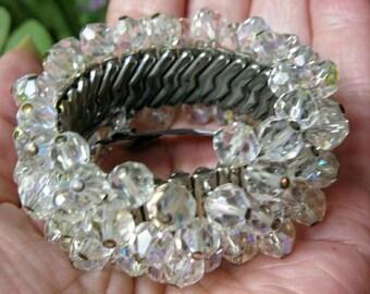 Vintage Aurora Borealis Crystal Cha-Cha Expansion Bracelet ~ AB Crystal Bead Silver Vintage Cha Cha Bracelet ~ AB Vintage Crystal Bracelet