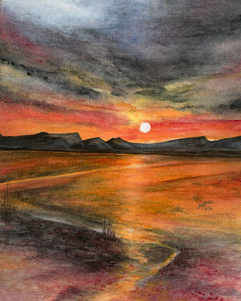 e631ee2e72 Watercolour sunset PRINT and Mount Watercolour Print Wall | Etsy