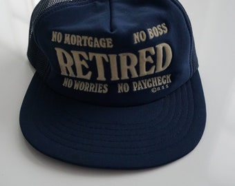 Vintage Hat Trucker Snapback Cap Retired No Boss Mortgage Worries Paycheck  - Navy Blue Hat 6d4637a22465