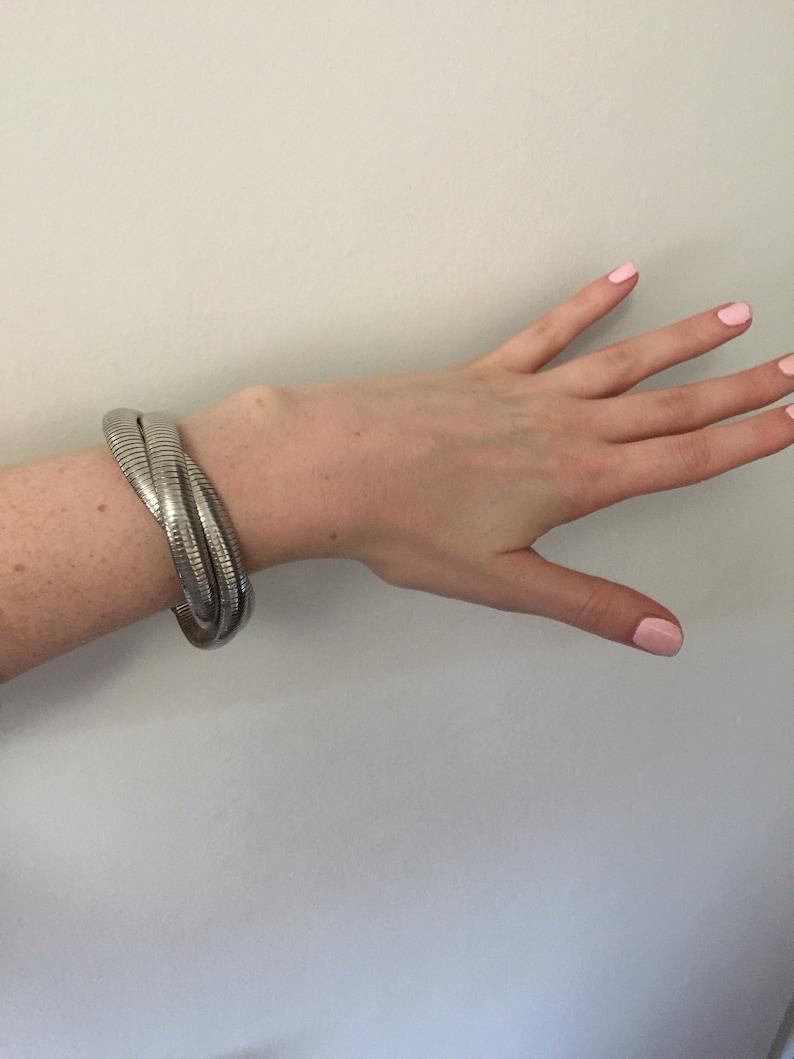 Thick Size Vintage Tri-Coil Stretch Bracelet Silver Tone Interwoven Bracelet
