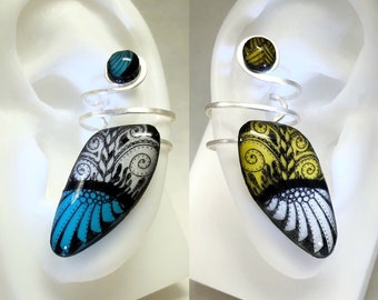 Zentangle(TM)-Inspired Ear Cuff (Single) - Choose Size/Color/Left or Right