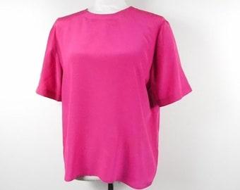 71142b80713132 45% OFF SPRING SALE Vintage Christie   Jill Hot Pink Silk Solid Shiny  Minimalist Button Keyhole Back Short Sleeve Shirt Blouse Top Tee Mediu