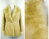 Vintage New York Company Tan Cream Sherpa Suede Leather Fur Lined Trim Button Evening Long Sleeve Jacket Coat Small