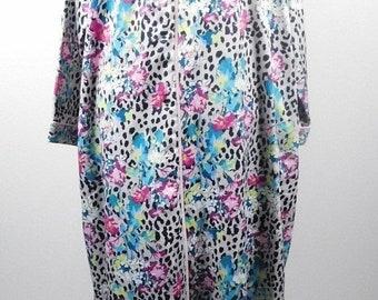 40% OFF BLOWOUT SALE Vintage Miss Elaine Gray Colorful Animal Cheetah  Floral Print Lightweight Zip Up Bedtime Pajama Dress Sz Xl Plus Size a360a36d5
