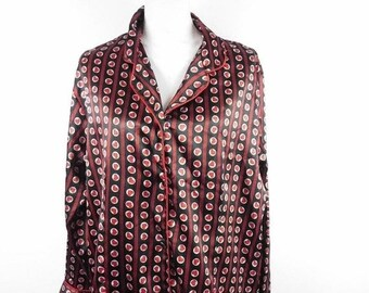 88f04c794a086b 50% SUMMER SALE Vintage 90s Ashley Stewart Red Black Heart All Over Striped  Print Design Sleep Lingerie Pajama Shirt Sz 1X Plus Size