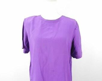 cc68fcc7643f53 40% OFF VDAY SALE Vintage 1980s Christie   Jill Minimal Purple Silk Short  Sleeve Keyhole Back Crewneck Blouse Top Shirt Sz Medium Petite