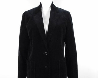 40% OFF BLOWOUT SALE Vintage 1990s Gil   Co. Black Minimal Velvet Button  Down Dressy Classic Lined Long Sleeve Blazer Jacket Sz 14 Large 96fff3289