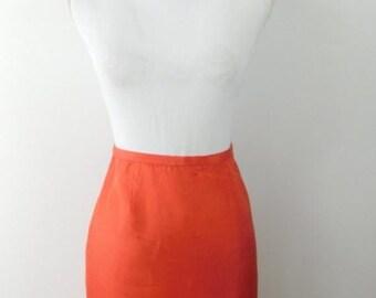 8900eb93d 40% OFF SHOP SALE Vintage Dana Buchman Bright Coral Pink Silk Blend Solid  Minimal High Waist Pencil Knee Length Skirt Bottom Sz 6 Small