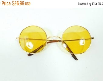 6b52f2f52a5 50% NEW YRS SALE Vintage Classic Standard Yellow Gold Transparent Fashion Big  Round Spectacle Sunglasses Frame Lens Glasses Eyewear