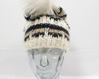 c25352236e8 40% OFF SHOP SALE Vintage Ann Taylor Loft Fair Isle Print Neutral Multi  Color Knit Beanie Fur Pom Pom Skullcap Hat Cap One Sz Fits All